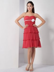 Red Sweetheart Party Dama Dresses Ruffled Layers Knee-length