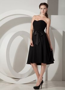 Princess Tea-length Black Formal Dresses For Dama with Sashes