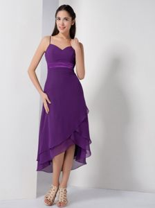 High-low Sweetheart Eggplant Purple Dama Dress with Spaghetti Straps