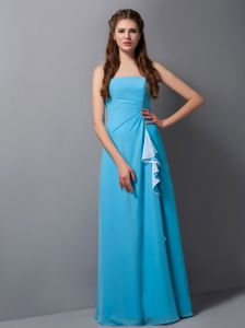 Strapless Floor-length Quinceanera Damas Dresses in Turquoise