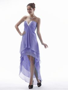 Lavender High-low Dama Dress For Quinceaneras with Slot V-neck