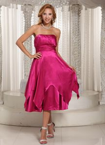 Hot Pink Ruched Strapless Tea-length Dama Quinceanera Dresses