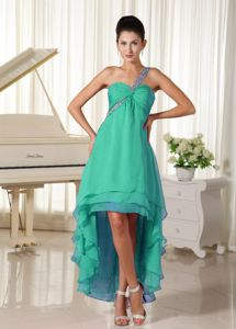 Beaded Single Shoulder High-low Damas Dresses For Quince in Green