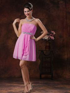 Mini-length Sweetheart Pink Dama Dress For Quinceaneras