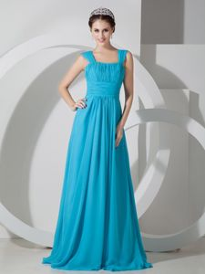 Square Ruched Dama Dress in Turquoise Floor length Brush Train
