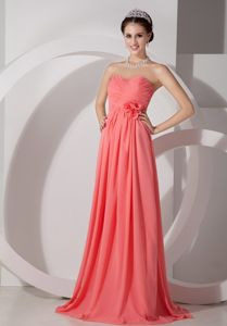 Empire Sweetheart Ruched Coral Red Dama Dress Brush Train