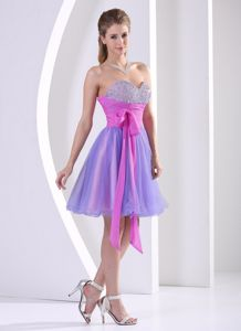 Beaded Sweetheart Multi-color Dama Dress with Sash Knee-length