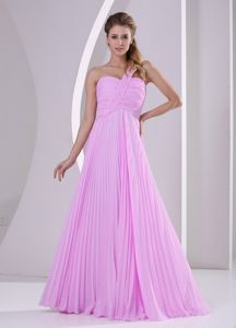 Pleated Pink One Shoulder Quinceanera Dama Dresses Brush Train