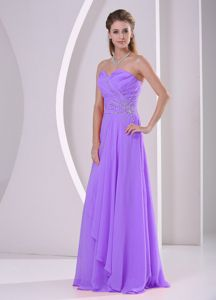Lilac Sweetheart Beaded and Ruched Quince Dama Dresses