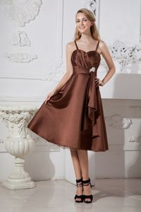 Brown Spaghetti Straps Tea-length Damas Dresses For Quince