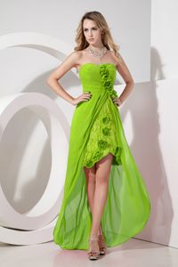 Sweetheart High-low Yellow Green Lace Damas Dresses For Quinceaneras