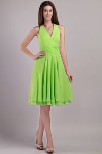 Spring Green Halter Top Knee-length Bridesmaid Dama Dresses