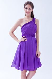 Purple A-line One Shoulder Ruched Party Dama Dresses Short