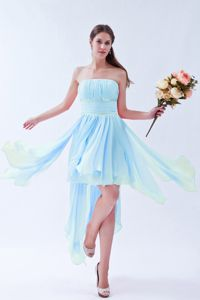 Strapless Ruched Beads Asymmetrical Hem Baby Blue Dama Dress
