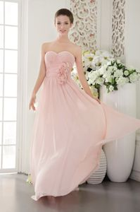 Sweetheart Hand Made Flowers Pink Side Zipper Dress for Damas
