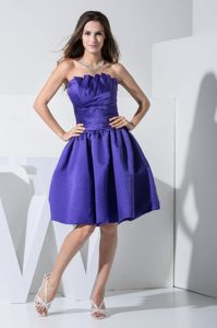 Ruffled Bust Strapless Ruched Purple Short Dama Dress for Quince