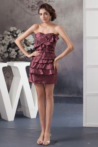 Layered Ruffles Sweetheart Burgundy Mini-length Dress for Dama