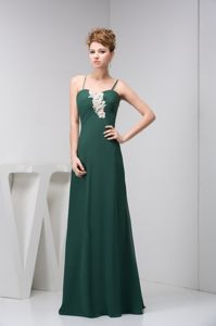 Appliques Spaghetti Straps Chiffon Dark Green Long Dama Dress