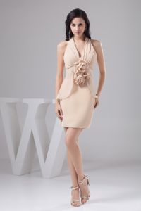 Handmade Flowers Halter Top Ruched Champagne Dama Dresses