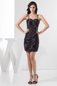 Mini-length Straps Ruffled Taffeta Ruching Damas Dresses for Quince