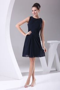 Navy Blue Bateau Neck Beading Short Chiffon Dresses for Damas