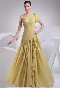 One Shoulder Ruched Yellow Zipper Up Dama Quinceanera Dress