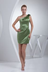 Layers One Shoulder Olive Green Satin Mini-length Dama Dresses
