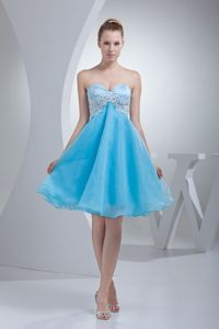Appliques Sweetheart Aqua Blue Organza Short Dresses for Dama