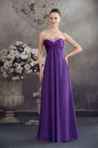 Purple Beaded Sweetheart Ruching Lace Up Quince Dama Dresses