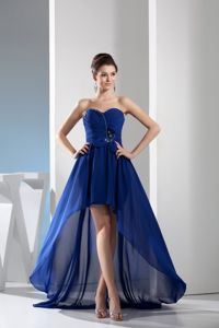 Sweetheart Ruched Beading High Low Royal Blue Dama Dresses