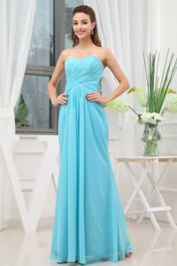 Ruched Sweetheart Aqua Blue Chiffon Zipper Up Dresses for Damas