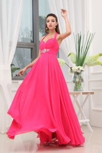 Hot Pink Backless Halter Beading Ruched Floor Length Dama Gown