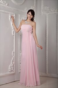 2013 Strapless Beading Baby Pink Chiffon Damas Dresses for Quince