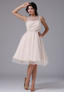 Bateau Neck Hand Made Flowers Champagne Tulle Dama Dresses
