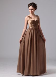 V-neck Ruched Zipper Up Chiffon Brown Floor-length Dama Dresses