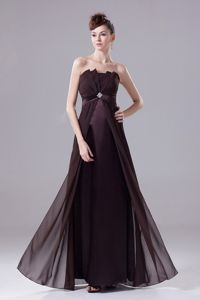 Strapless Pleated Beading Floor-length Brown Chiffon Dama Dress