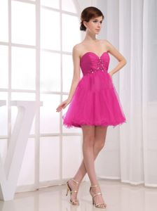 Tulle Sweetheart Beading Ruched Fuchsia Short Party Dama Dresses