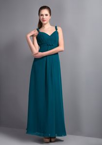 Affordable Straps V-neck Turquoise Chiffon Quinceanera Dama Dress