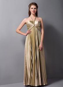 Halter Top Pleated Ruched Brown Long Dama Dresses for Quinceanera