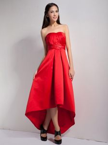 Satin High-low Strapless Appliques Red Cool Back Dama Dresses