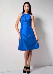 Bateau Neck Knee-length Blue Taffeta Zipper Up Formal Dama Dress