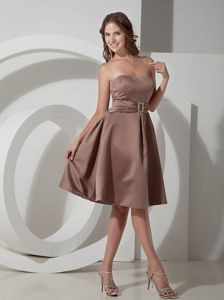 Strapless Beaded Belt Chocolate Taffeta Short Dresses for Damas