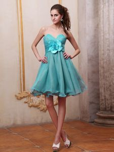 Organza Sweetheart Beading Hand Made Flowers Short Dama gown