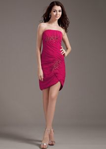 Strapless Beading Ruched Red Short Dama Dress with Asymmetrical Hem