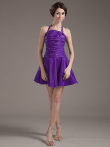 Cool Back Halter Top Beading and Ruche Purple Dresses for Damas