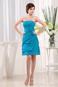Ruched Strapless Teal Short Dama Dresses with Hand Made Flowers