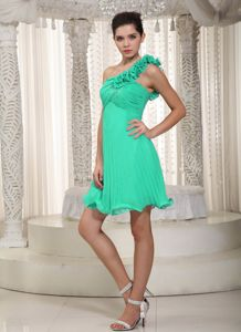 Apple Green One Shoulder Flower Beading Mini-length Dama Gown