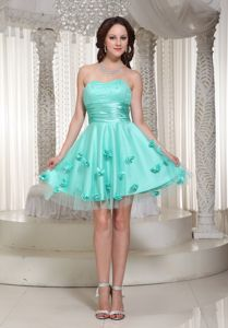 Flowers Sweetheart Ruched Baby Blue Tulle Cocktail Dama Dress