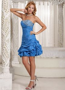 Lace Up Back Beading Strapless Pick-ups Blue Taffeta Dama Dress