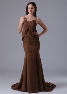 Mermaid Straps Brown Chiffon Brush Train Dama Dress for Party